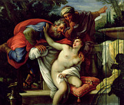 Lust Framed Prints - Susanna and The Elders Framed Print by Giuseppe Bartolomeo Chiari