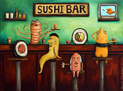Stools Prints - Sushi Bar Improved Image Print by Leah Saulnier The Painting Maniac