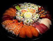 Banquet Photo Metal Prints - Sushi party tray Metal Print by Elena Elisseeva