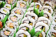 Food And Beverage Posters - Sushi platter Poster by Elena Elisseeva