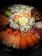 Tuna Metal Prints - Sushi tray Metal Print by Elena Elisseeva