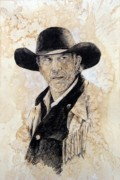 Cowboy  Drawings Metal Prints - Suspicious Metal Print by Debra Jones