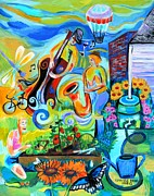 Rain Barrel Paintings - Sustainable Expo At The Dogtown Street Musicians Festival Poster by Genevieve Esson