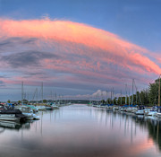 Sutton Photos - Suttons Bay Marina at Sunset by Twenty Two North Photography