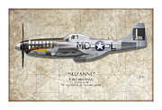 Aviation Artwork Metal Prints - Suzanne P-51D Mustang - Map Background Metal Print by Craig Tinder