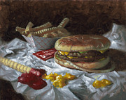 French Fries Painting Posters - Suzy-Q Double Cheeseburger Poster by Timothy Jones