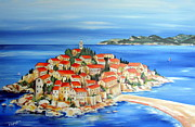 Seascape Paintings - Sveti Stefan Montenegro by Roberto Gagliardi