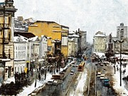 Snow Scenes Mixed Media Framed Prints - Svetlanskaya Street Vladivostok Framed Print by Jake Hartz