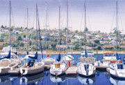 Sail Boats Painting Posters - SW Yacht Club in San Diego Poster by Mary Helmreich