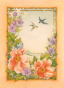 Swallow Paintings - Swallows and Peonies by Lynn Bywaters