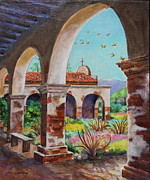 San Juan Paintings - Swallows Return to Mission San Juan Capistrano by Jan Mecklenburg