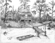 Cabin Drawings - Swamp Camp by Jimmy Taylor