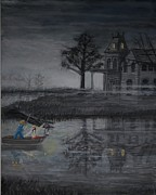 Abandoned Houses Painting Posters - Swamp Gothic Published Poster by Larry Lamb