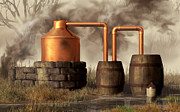 Southern Digital Art - Swamp Moonshine Still by Daniel Eskridge