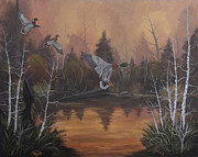 Crossbill Painting Originals - Swamp by Rudolph Bajak
