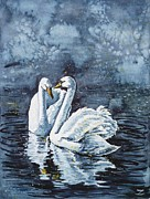 Swan Paintings - Swan Couple by Zaira Dzhaubaeva