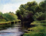 Great Place To Fish Paintings - Swan Creek by Janet King
