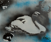Orca Paintings - Swan dream by Barry Boom