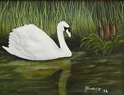 Swans... Paintings - Swan Gliding Along by Ruth  Housley