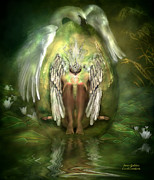 Swan Fantasy Art Framed Prints - Swan Goddess Framed Print by Carol Cavalaris