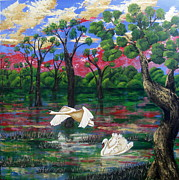 Swans... Paintings - Swan Heaven by Susan McLean Gray