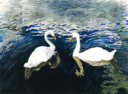 Poetry Paintings - Swan Lake by Michael  Cox