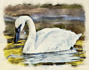 Swan Fantasy Art Prints - Swan on the Lake Print by Yury Malkov