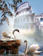 Wildlife Imagery Posters - Swan pair and the Acropolis   Poster by Gina Femrite