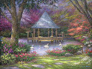 Swans Paintings - Swan Pond by Chuck Pinson