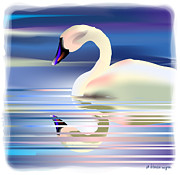 Swan Digital Art Posters - Swan Song Poster by Arline Wagner