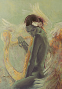 Gold Art Prints - Swan Song Print by Dorina  Costras