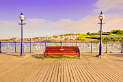Country Scenes Mixed Media Prints - Swanage Pier England - Fine Art Print Print by David Dwight