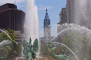 Hall Digital Art Prints - Swann Fountain in Philadelphia Print by Bill Cannon
