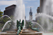 City Hall Prints - Swann Fountain in Philadelphia Pa Print by Bill Cannon