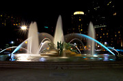 Swann Digital Art - Swann Fountain Philadelphia at Night by Bill Cannon
