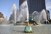 Water Fountain Art Posters - Swann Fountain Philadelphia Poster by Bill Cannon