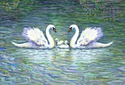 Swans Paintings - Swans and Two Babies by Linda Mears