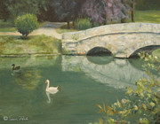 Swans... Paintings - Swans at le Chateau by Sarah Parks