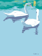 Abstract Wildlife Paintings - Swans bird lake pop art nouveau retro 80s 1980s landscape stylized large painting  by Walt Curlee