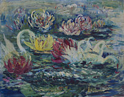 Swans... Paintings - Swans in Lilies  by Avonelle Kelsey