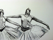 Ballet Dancers Drawings - Swans by James Gallagher