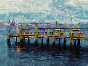 Wooden Platform Painting Framed Prints - Swansboro Dock 1 Framed Print by Lanjee Chee