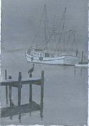 Trawler Drawings Metal Prints - Swansboro Mist Metal Print by David Norris