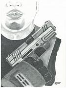 Sheriff Drawings Posters - S.W.A.T. Team Leader holding a Springfield Armory XD 40 cal weapon Poster by Sharon Blanchard