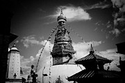 Flag Pyrography Prints - Swayambhunath temple black and white Print by Raimond Klavins
