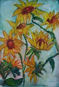 Garden Scene Paintings - Swaying Sunflowers by Gloria Johnson