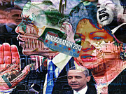 President Obama Digital Art Prints - Swearing In Print by Lynda Payton