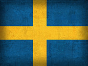Sweden Mixed Media - Sweden Flag Vintage Distressed Finish by Design Turnpike