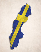 Sweden  Digital Art Prints - Sweden Map Art with Flag Design Print by World Art Prints And Designs