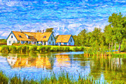 Sweden  Digital Art Posters - Swedish lakehouse Poster by Antony McAulay